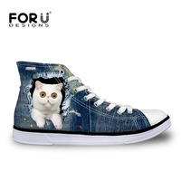FORUDESIGNS 2017 Spring Summer Women Casual High Top Canvas Shoes Vintage Denim Pet White Cat Print