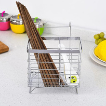 Fashion Thicker Stainless Steel Chopsticks Basket Multifunctional Chopsticks Cage Tableware Storage Holder Two Shapes Avalible