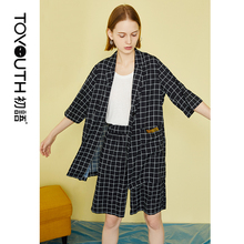 Toyouth Boyfriends 2019 Summer Black and White Plaid Short Pant Suits