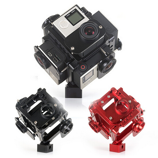 2017 360/720 Degree VR Full frame shoot FPV Panoram Imaging Video Recorder 6pcs gopro camera holder cage for gopro hero 4/3/3+