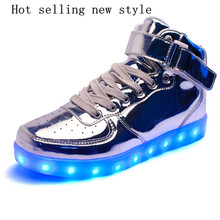 2016 autumn and winter high-top mirror silver selling men Tongfa Guang led schoenen kinderen USB charging kids light up shoes