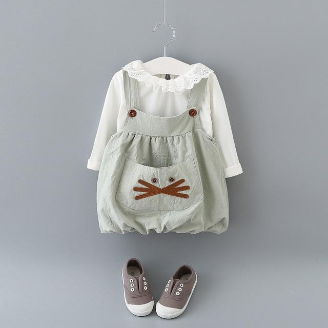 New 2017 Autumn Baby Girl Clothing Sets Fashion Cotton Long Sleeve T-shirt Cartoon Strap Dress Girls Clothes Baby Set Summer