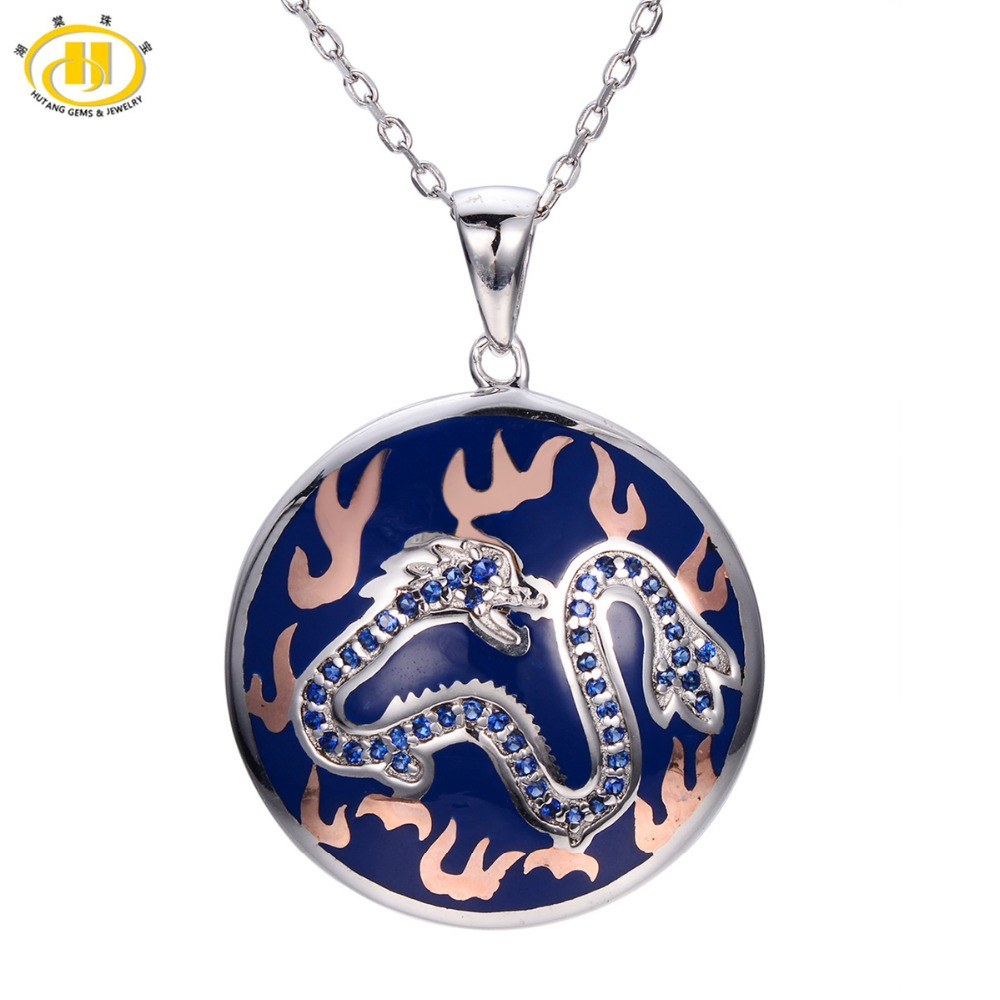 Hutang Created Blue Sapphire Enamel Pendant Solid 925 Sterling Silver Necklace Chinese Element Dragon Fine Jewelry все цены