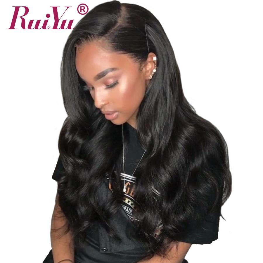 RUIYU объемная волна парик Синтетические волосы на кружеве человеческих волос парики для черный Для женщин предварительно сорвал Glueless кружев...