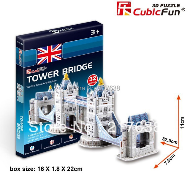 3D puzzle TOWER BRIDG  building model small size ,  educational DIY toys, free shipping.