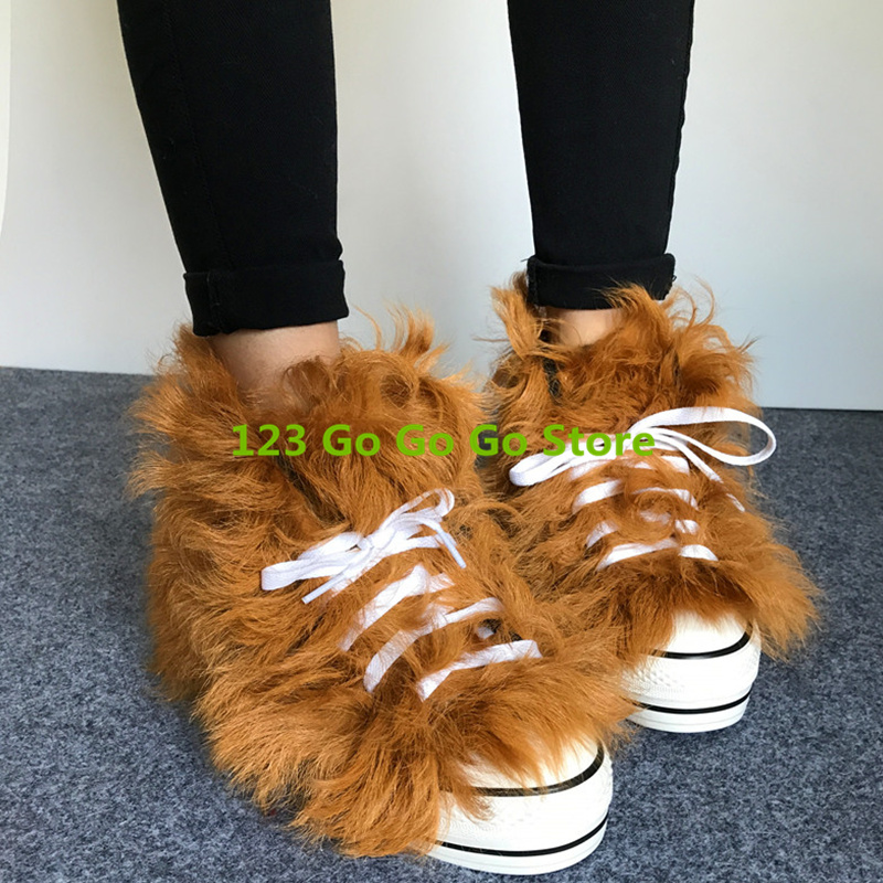 Colorful Fur Women Winter Warm Boots Lace Up Shoes High Top Round Toe Height Increasing Snow Boots Ankle Boots Short Booties lin king hot sale women snow boots lace up flock solid high top ankle boots round toe thick sole low heel warm wintrer boots