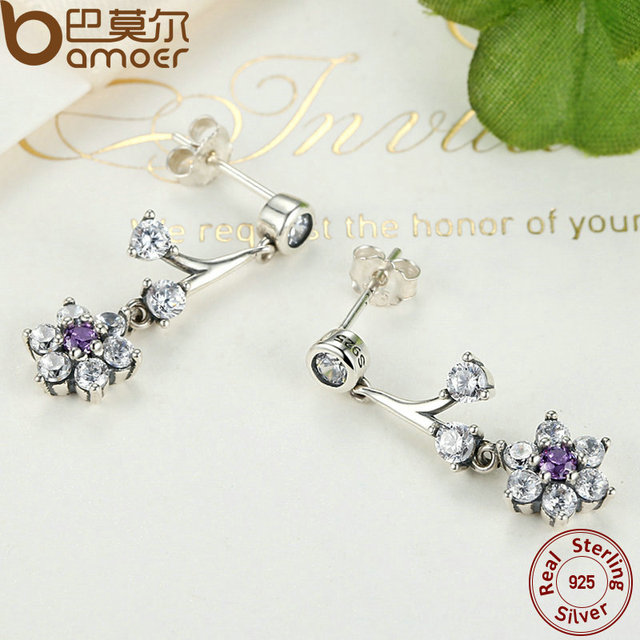 Sterling Silver Forget Me Not, Purple Earrings