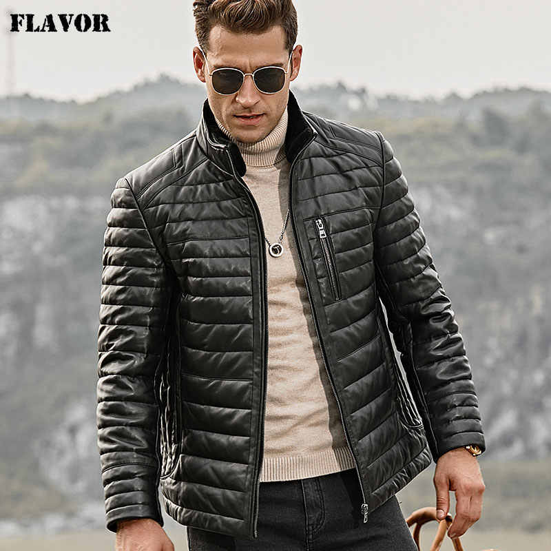 FLAVOR Men's Real Leather Down Jacket Men Genuine Lambskin Winter Warm Leather Coat with Removable Standing Sheep Fur Collar