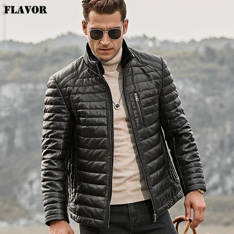 Chaqueta de plumón de cuero auténtico para hombre, abrigo de piel de cordero de invierno con cuello de piel de oveja extraíble