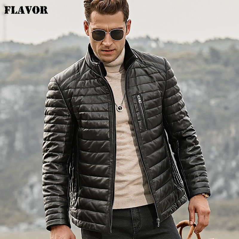 FLAVOR Men's Real Leather Down Jacket Men Genuine Lambskin Winter Warm Leather Coat with Removable Standing Sheep Fur Collar|Genuine Leather Coats| - AliExpress