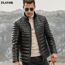 FLAVOR Men's Real Leather Down Jacket Men Genuine Lambskin Winter Warm Leather Coat with Removable Standing Sheep Fur Collar(China)