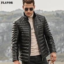 Jaqueta masculina de couro legítimo flavor, casaco de inverno pele de cordeiro genuína com gola removível