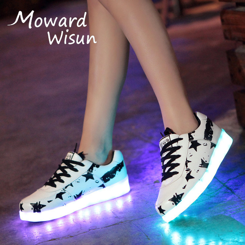 Size 30-44 Fashion Glowing Luminous Sneakers with Light Sole LED Slippers Boys Girls Kids Shoes 30