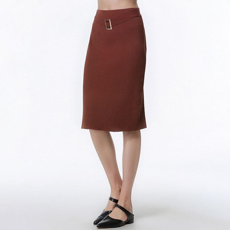 2019 mode décontracté longue jupe femmes café élasticité taille haute droite Femme formelle genou-longueur jupes tricoté jupe