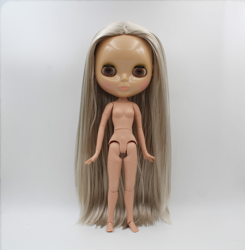 Blygirl,Blyth doll,Silver straight hair, nude doll, 1/6 body, Tan skin,19 joint body, can be used to dress and make up her free shipping blyth doll nude dolls colorful bangs hairy multi joint body 19 joint joints can be rotated to send hand group
