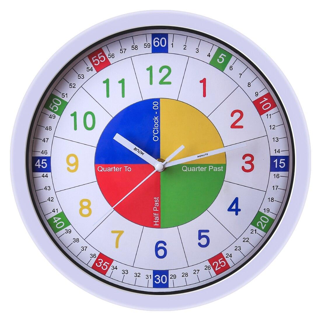 30cm Children Teaching Clock Silent Wall Clocks Home Decor Kids Wall Clock Quartz Modern Design For Bedroom Study Room
