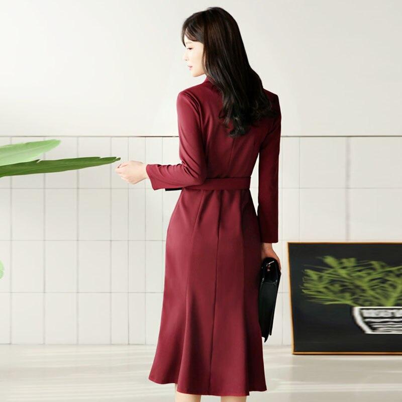 スタイルワインレッド女性のドレスエレガントなダブルブレストサッシ女性 BGTEEVER Princess 送料無料