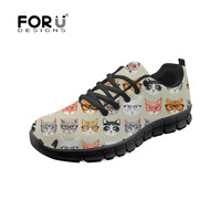 FORUDESIGNS Womens Platform Sneakers Spectacular Cats Harajuku Shoes Breathable Casual Flats Zapatillas Mujer Plus Size 35 45