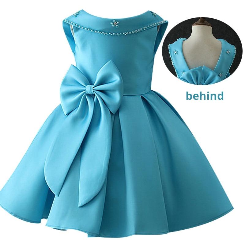 Атласное платье для первого причастия для маленьких детей; блестящее бальное платье; Пышное Платье; Платья с цветочным узором для девочек на свадьбу; платье для банкета сзади - Цвет: shy blue