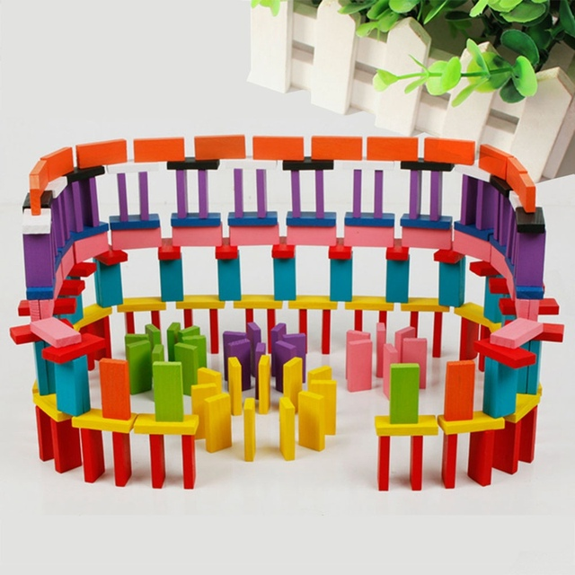 120Pcs/Set Colorful Wood Domino Blocks Children Color Sort Kits Early Bright Dominoes Games Educational Toys For Children Gift