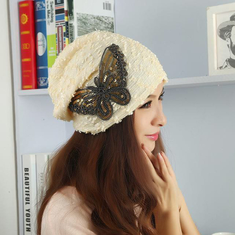 Butterfly Beanies Skullies Woman Autumn Winter Cap Girl Lace Hats For Women Beanie Warm Cap Gorro Ladies Winter Hat skullies
