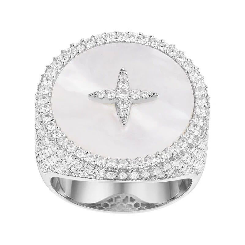 SLJELY Luxury Brand 925 Sterling Silver Cubic Zirconia Star Round Badge Ring with Mother of Pearl