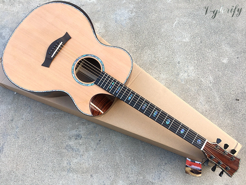 40inch high grade red cedar top professional acoustic guitar with radian corner