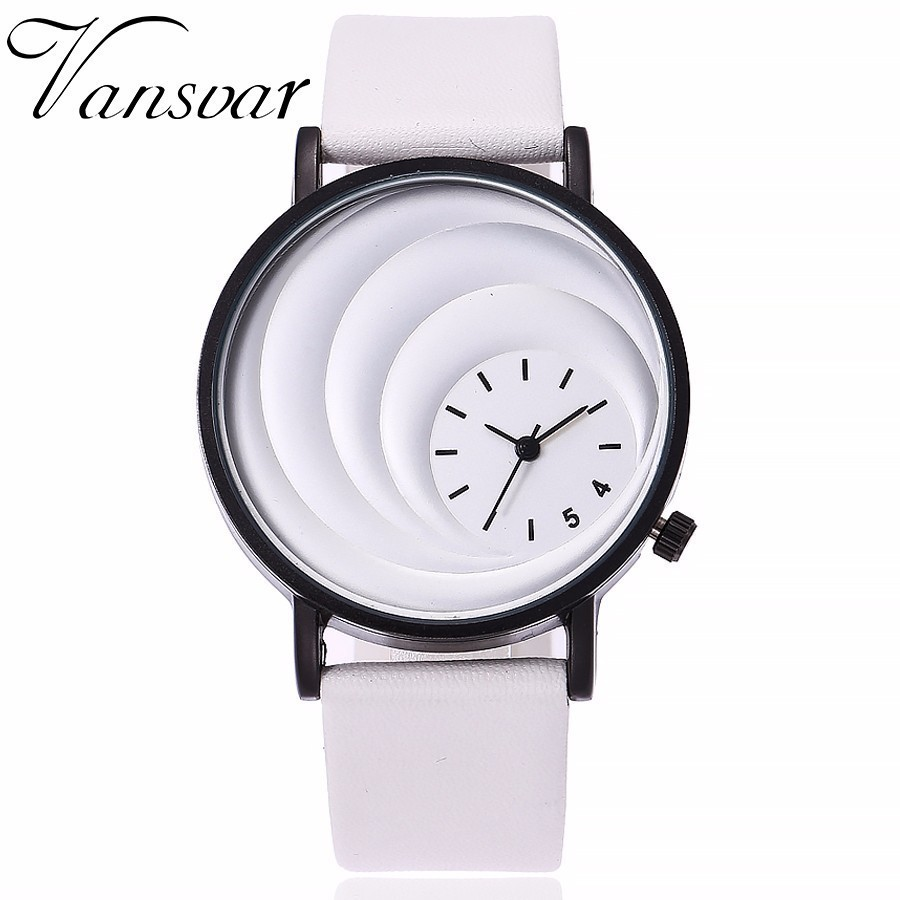 Vansvar Men Women Unique Creative Moon Dial Watch Fashion Neutral Style Simple Quartz Wristwatches Leather Strap Watches Gift