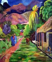 Original Quality Art Oil on Canvas Road in Tahiti, 1891 by Paul Gauguin Painting for Living Room Office Decor Hand Made