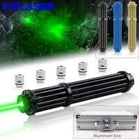 CWLASER 10000 20000 м мощный зеленый лазер 520nm фокус Гатлинга плюс зеленый лазерная указка с Luxury чехол (3 цвета)