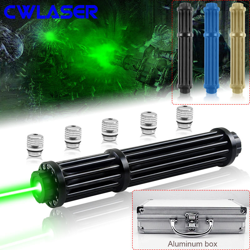 CWLASER 10000-20000m Powerful Green Laser 520nm Focusable Gatling Plus Green Laser Pointer With Luxury Case (3 Colors) cwlaser 10000m 638nm focusable waterproof ipx 8 red laser pointer 3 colors