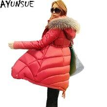 Женский пуховик, зимняя куртка, корейский стиль, тонкий, элегантный, длинный пуховик, парка, мех, с капюшоном, пальто для женщин, Mujer Abrigo ST352