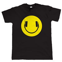 Smiley Face Headphones DJ Rave Mens T Shirt