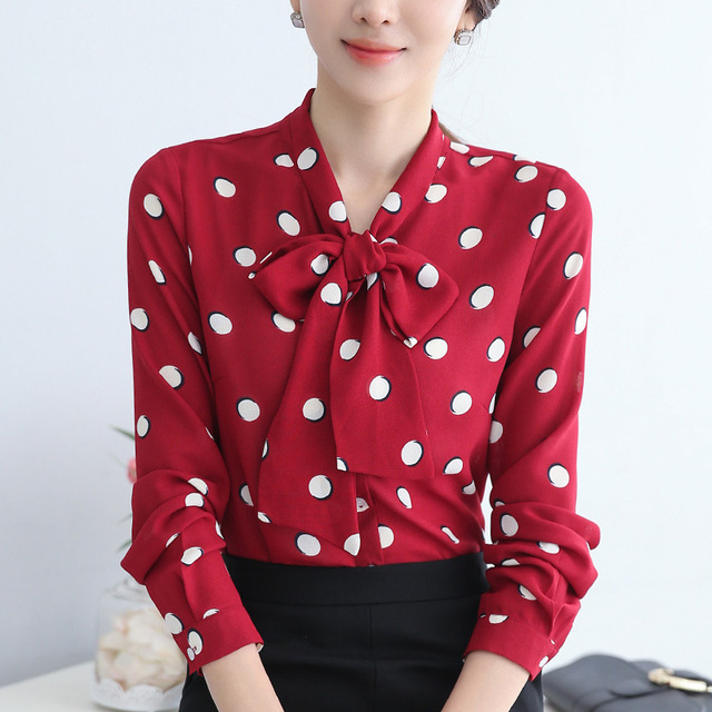 ac9e16f90 Brand Women's Polka Dot Blouse Long Sleeve Chiffon Casual Loose Button Down  Shirt Ladies Office work Elegant Top Blouse