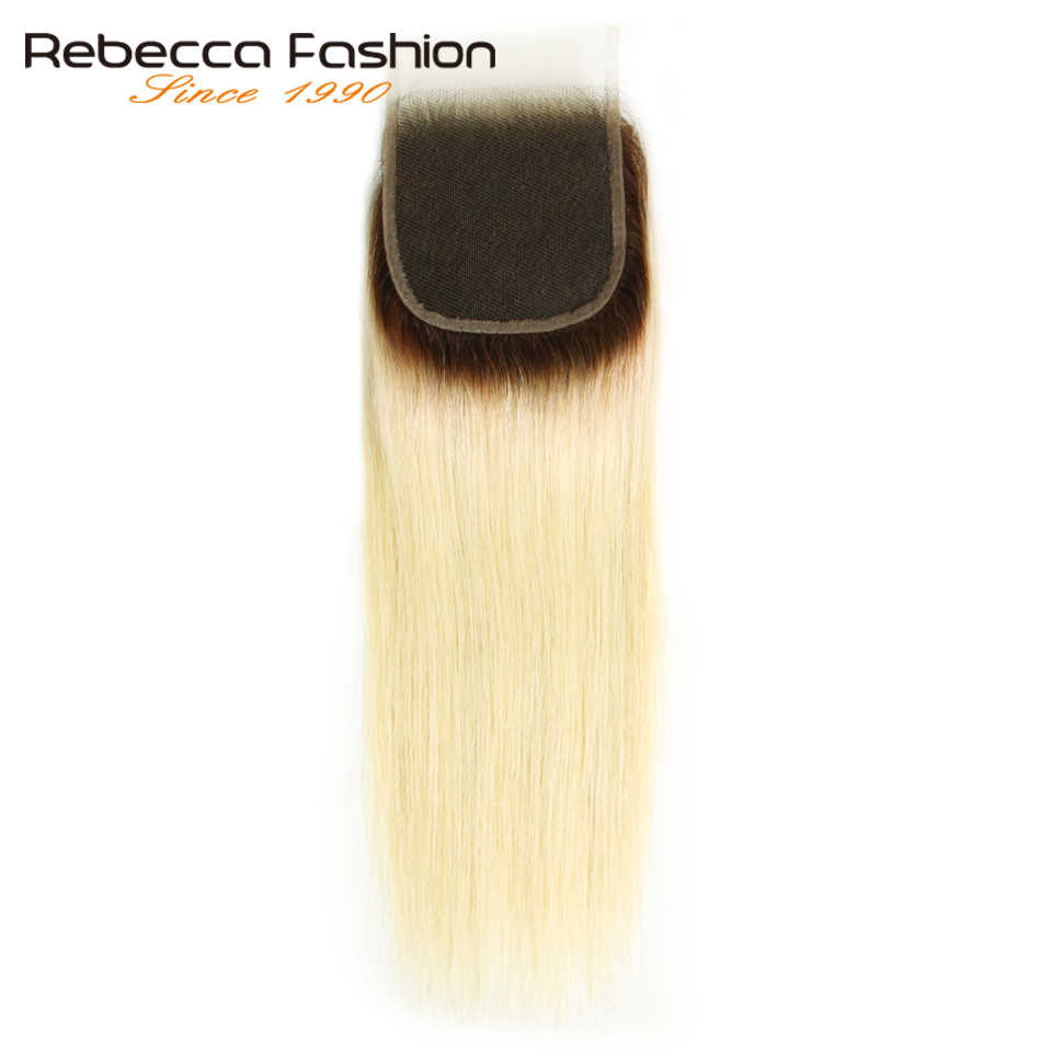 Rebecca Straight T4/613 Honey Blonde Ombre Closure Brazilian Remy Human Hair Closures 4x4 Transparent Swiss Lace Closure