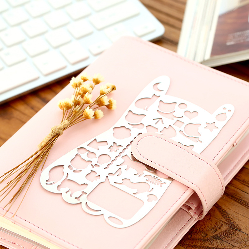 Vintage Portable Stainless Steel Metal Stencils Hollow Rulers Planner Cute Cat Diary Notebook DIY Tool Template Gift Stationery