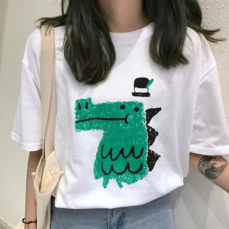 2019 Summer Women T Shirt Funny Cartoon Print T-shirt Plus Size Short Sleeve O-neck Tops Tee White Tshirts