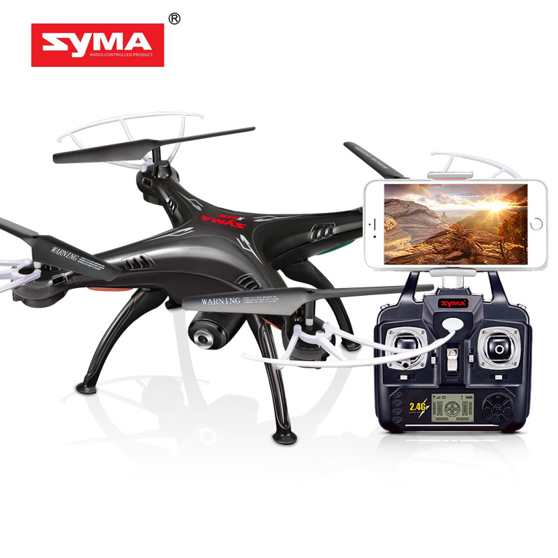 Syma X5SW Drone with WiFi Camera Real-time Transmit FPV Quadcopter 2.0MP HD Camera Drone 2.4G 4CH RC Helicopter-Black syma x8c 2 4g 4ch professional fpv quadcopter drone with hd camera wifi real time transmit control helicopter toy