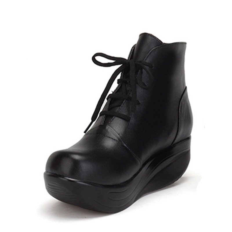 BEYARNE   Black Women Boots Lace Up Genuine Leather Winter Shoes Warm Wedges Platform Swing Shoes Big Size Short Boots-in Ankle Boots from Shoes    2
