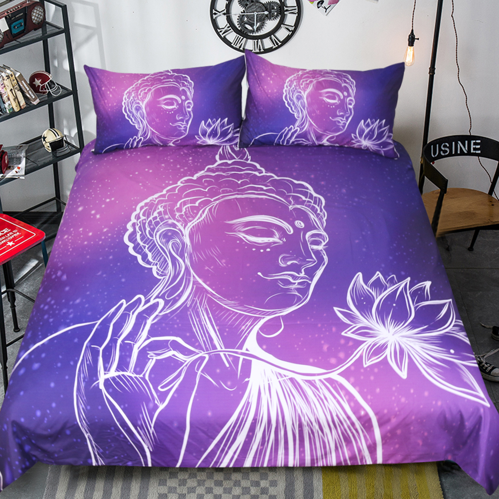 Purple Lotus Bed Set Queen Linen Cotton Quilts and Bedding Sets 3pcs Buddha Duvet Covers Twin Full King Edredon Linens Space EPurple Lotus Bed Set Queen Linen Cotton Quilts and Bedding Sets 3pcs Buddha Duvet Covers Twin Full King Edredon Linens Space E