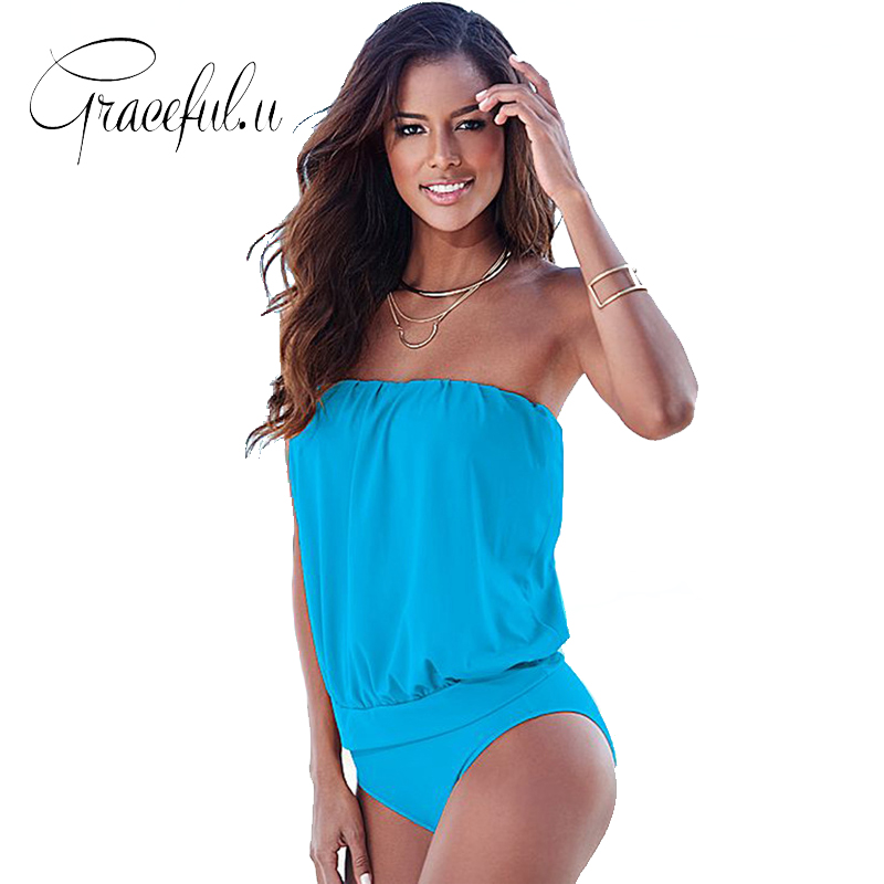 2017 Badeanzug Tankini Plus Size Bademode Frauen Solide Sexy Bandeau Bikini Badeanzüge Vintage Weibliche Strand Badeanzug