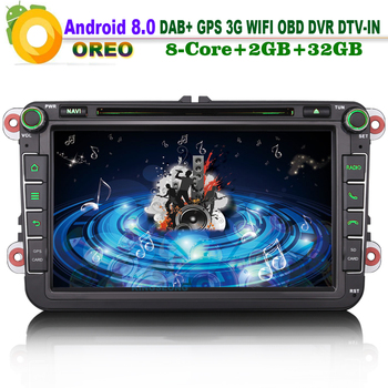 8 DAB+ Android 8.0 Autoradio Bluetooth FOR SKODA Fabia octavia Roomster CD GPS WiFi 3G GPS RDS DVD DVR DTV Car Radio player image