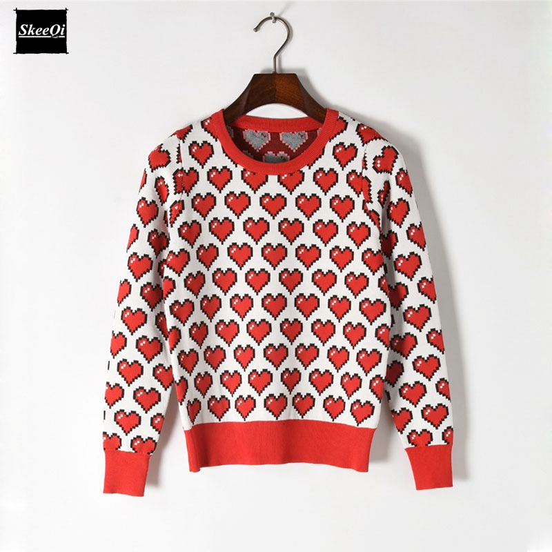 2018 New Fashion Sweater Female Pullovers Heart Pattern Jacquard Spring Knitted Sweaters Pullover Runway Designer Tops Jumper