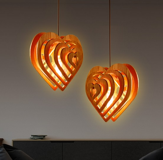 Edison Loft Style Wooden Heart Droplight Modern Pendant Light Fixtures For Dining Room Hanging Lamp Home Lighting Lamparas edison loft style wooden gourd droplight modern pendant light fixtures for living dining room hanging lamp indoor lighting