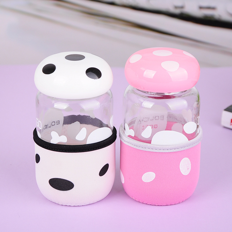 Creative Cute Mushroom Spot Glass Water Bottle with Insulation Silicone Cover Outdoor Kid Travel Camping Drinking Bottles