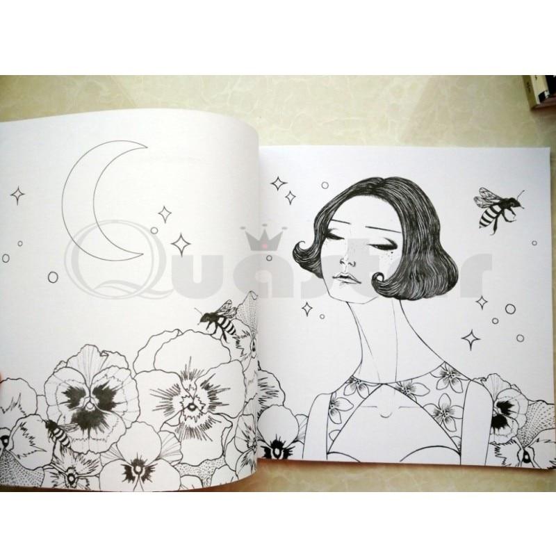 Korea Dream Girl+36 pencil Coloring Books for adults kids Graffiti ...