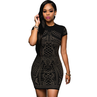 Sexy Geometric Studded Rhinestone Cap Sleeve Tight Fit Dress Party High Neck Retro Black Event Club