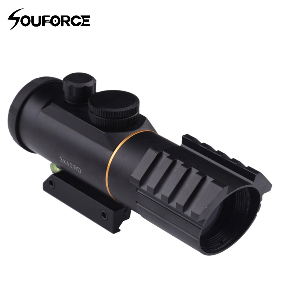 Tactical 3X42 Red Dot Sight Scope with Spirit Bubble Level Fit Picatinny Rail Mount 11mm or 20mm Riflescope Hunting Shooting ...