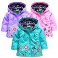 2015 Новая мода зима стиль дети кринолином пальто дети анти ветер и дождь цветочные куртки детей вниз куртка для девочки