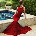 Мода 2016 Сшитое Красная Атласная Высокая Знаменитости Платья Простой Дешевые Длинные Поезд Вечерние Платья вечера Женщин